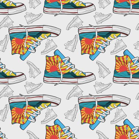 Dibujado a mano zapatos zapatillas sin patrón