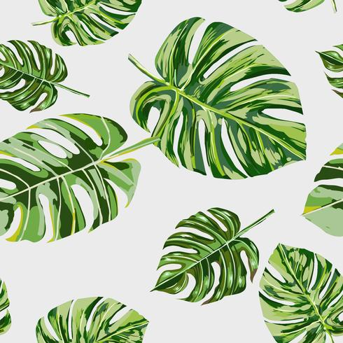 Modèle sans couture de main feuille tropicale dessiné