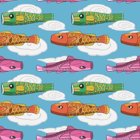 Japanese koi fish flag seamless pattern vector