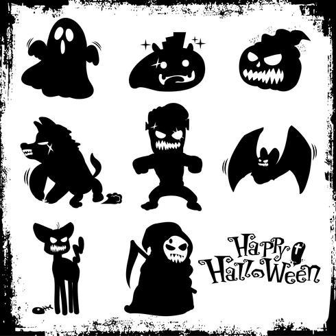 Silhouette halloween monsters vector