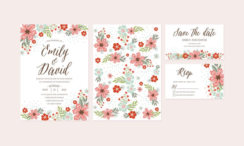 photo relating to Floral Printable referred to as Hand Drawn Spring Flower Marriage ceremony Invitation,Thank Your self card