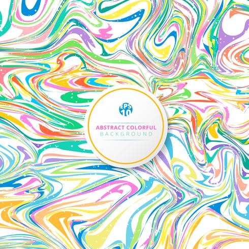 Abstract wavy striped colorful bright ink painted background.