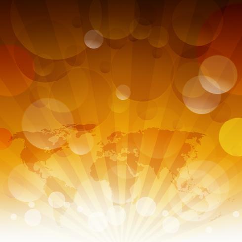 La luz amarilla del sol del verano estalló. Fondo tipográfico de verano con luces bokeh. vector