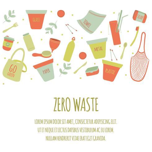 Hand gezeichneter Nullabfall-Element-Ikonen-gesetzter Hintergrund. Eco Green.Less Plastic Umweltfreundlich. Eco Green. Öko-Leben. Tag der Erde. Infografik. Vektor - Illustration