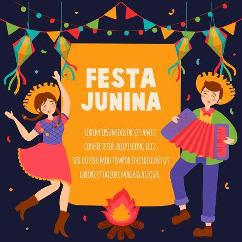 Hand drawn Festa Junina Brazil June Festival. Village festival in Latin America. Girl Boy Guitar Accordion Cactus Summer Sunflower Campfire. Background - Vector Illustration