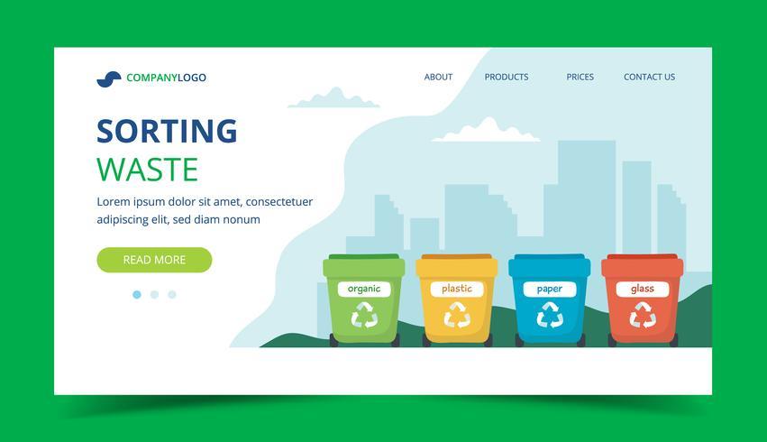 Página de destino de clasificación de residuos con diferentes contenedores de basura de colores, ilustración de concepto para reciclaje, gestión de residuos, ecología, sostenibilidad. Ilustración vectorial en estilo plano