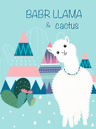 Llama och Cactus Clipart Bundle, No Drama Llamas Graphics Set.