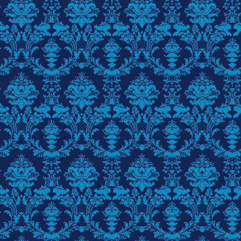elegante fondo azul Damasco inconsútil vector