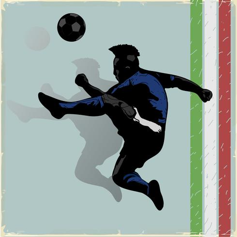 Joueur de foot rétro sautant