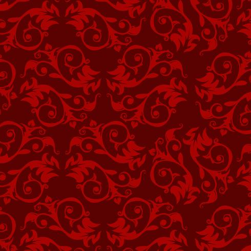 Fondo ornamental de lujo. Patrón floral del damasco rojo. Papel tapiz real.