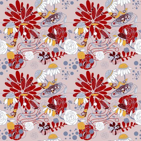 Fundo floral dos testes padrões da beleza na cor marrom. ilustração vetorial