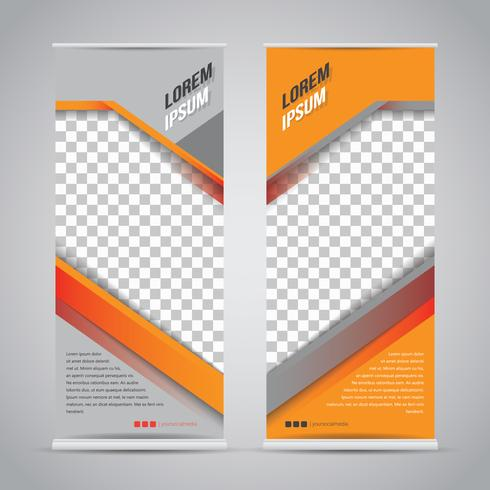 Modelo de Banner Roll Up preto laranja Mock Up vetor