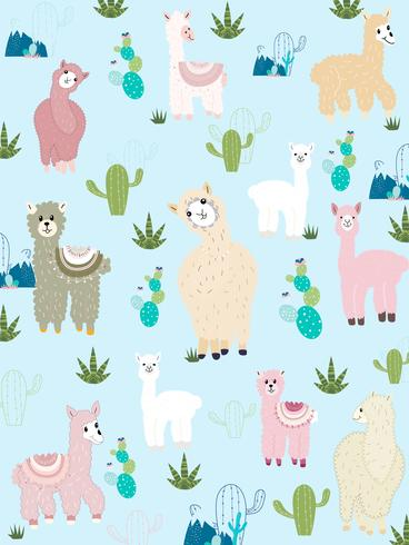 Llama och Cactus Clipart Bundle, No Drama Llamas Graphics Set. vektor