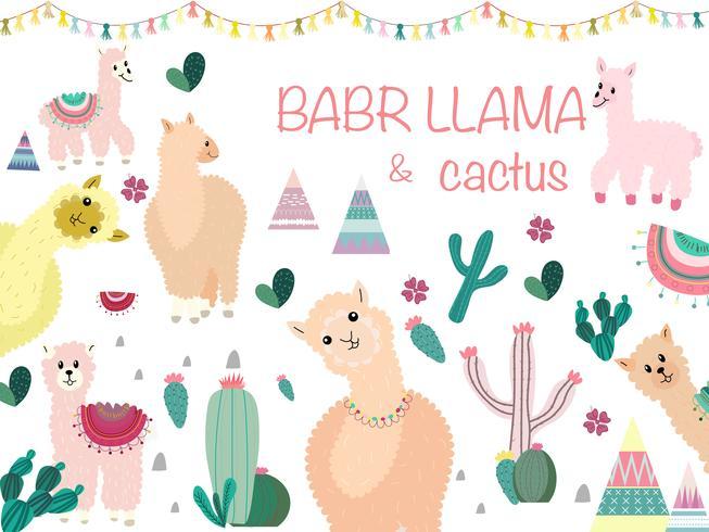 Llama y Cactus Clipart Bundle, No Drama Llamas Graphics Set. vector