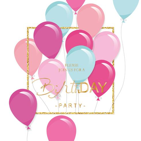 Festive holiday template with colorful balloons and glitter frame. Birthday party invitation.