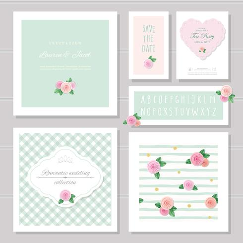 Wedding card templates set. Decorated with roses. Invitation, save the date. Pastel pink and green. Romantic collection, included frames, patterns, narrow hand written alphabet. vector