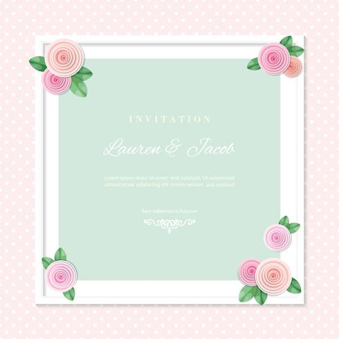 White square frame decorated with roses on polka dots background. Shabby shic design. Girly. vector