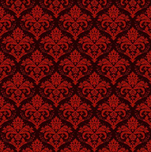 Fondo ornamental de lujo transparente. Damasco rojo patrón floral sin fisuras. Papel tapiz real. vector