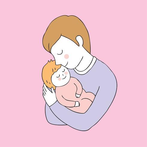 Netter Vater- und Tochtervektor der Karikatur.