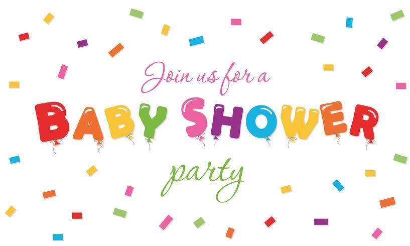 Baby shower festlig bakgrund. Party invitation banner med ballong färgade bokstäver och konfetti.