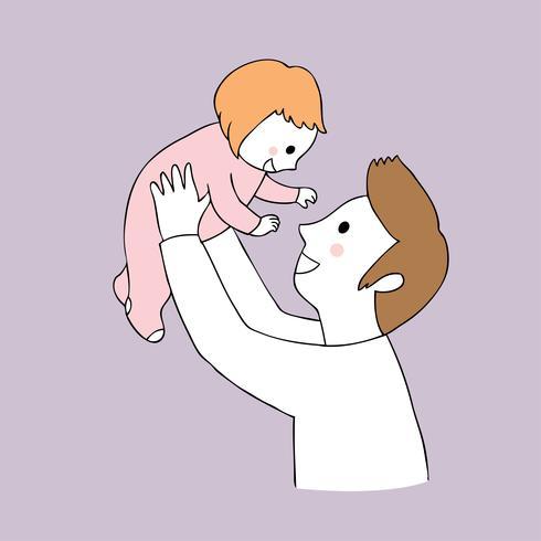 Cartoon schattige vader en dochter vector.