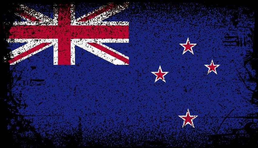 bandera de nueva zelanda grunge vector