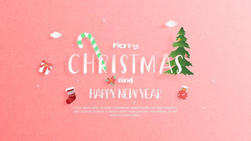 Feliz Natal e feliz ano novo cartão em papel cortado estilo. Ilustração vetorial Fundo de celebração de Natal. Folheto, panfleto, modelo de banner.