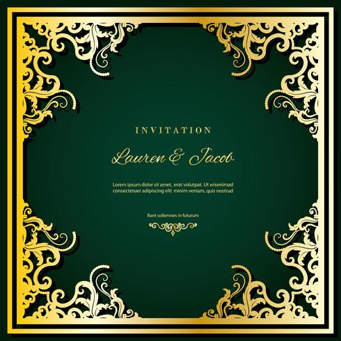 Wedding invitation card template with laser cutting frame. Square filigree cutout envelope design. Gold luxury decor.