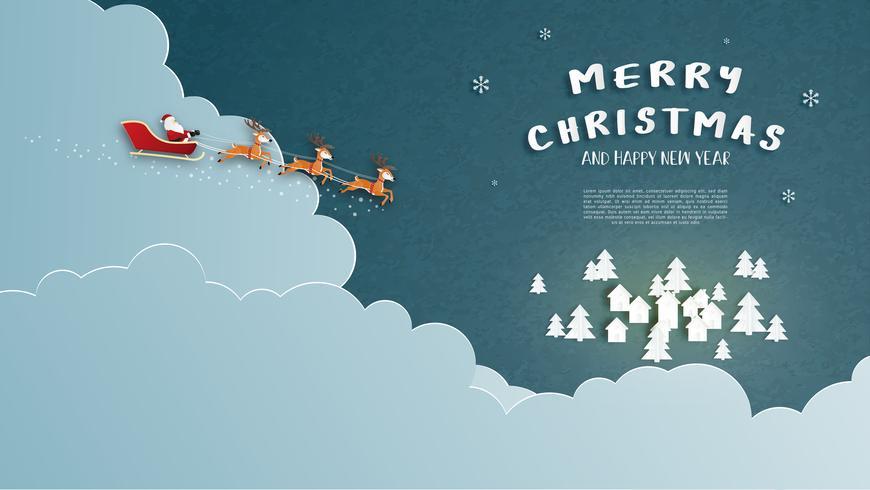 Tarjeta de felicitación feliz Navidad y feliz año nuevo en el estilo de corte de papel. Fondo de la celebración de la Navidad de la ilustración del vector. Diseño para banner, flyer, póster, papel tapiz, plantilla.