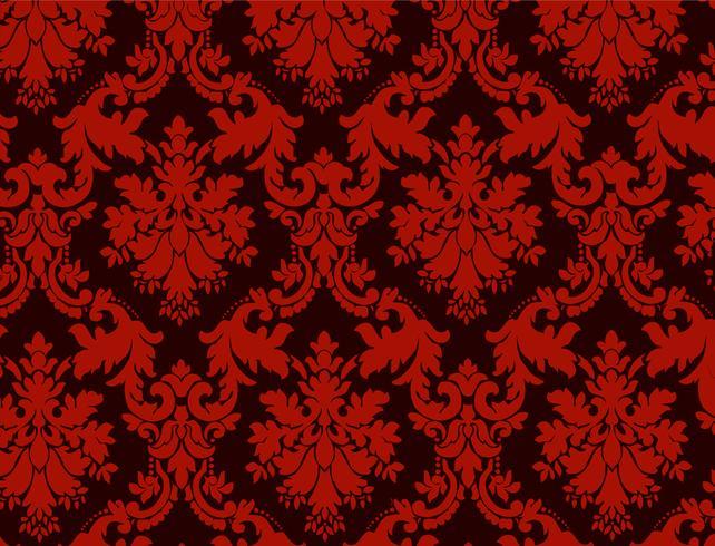 Fondo ornamental de lujo. Patrón floral del damasco rojo. Papel tapiz real. vector
