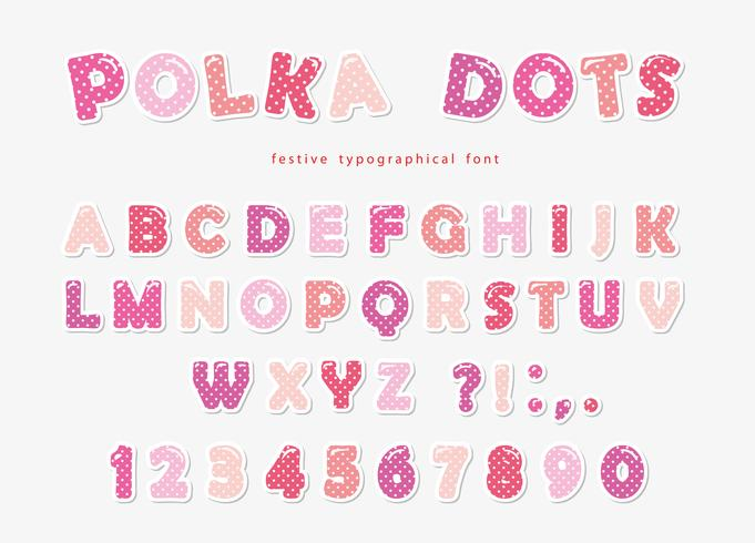 Cute polka dots font in pastel pink. Paper cutout ABC letters and numbers. Funny alphabet for girls. vector