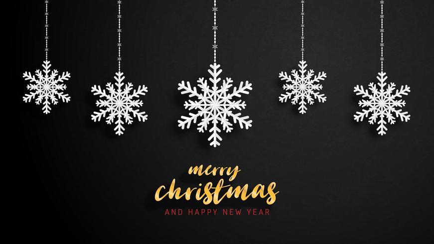 Buon Natale e felice anno nuovo biglietto di auguri in carta tagliata stile. Illustrazione vettoriale Celebrazione di Natale su sfondo nero. Design per banner, flyer, poster, carta da parati, modello.