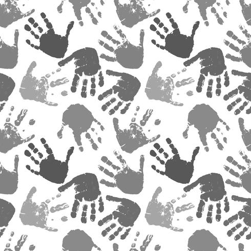 patrón de vector transparente de impresiones de manos