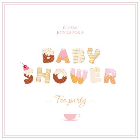 Projeto do convite da festa do chá da festa do bebé. Letras decorativas doces em rosa pastel e bege. Feminino. vetor