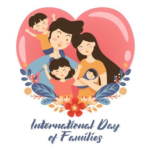 Mão desenhada internacional dia da família / dia internacional das famílias com flor grinalda Amor plano de fundo - mãe pai filha do filho vetor ...