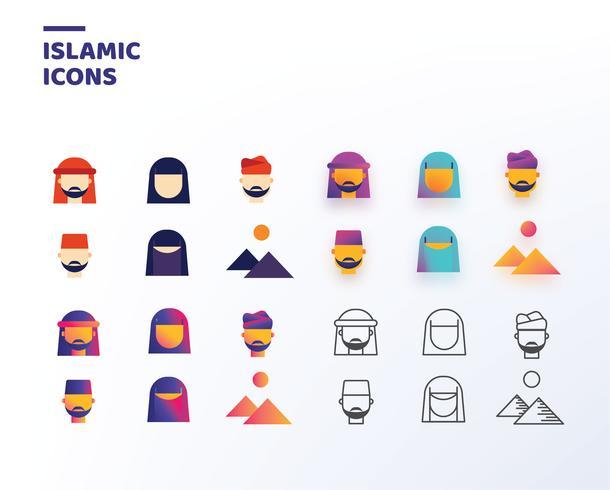 Islamische Ikonen-Vektor-Satz vektor