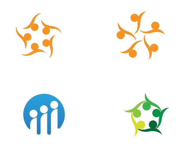 Grupo de personas de la comunidad de estrellas, logotipo y símbolos vector