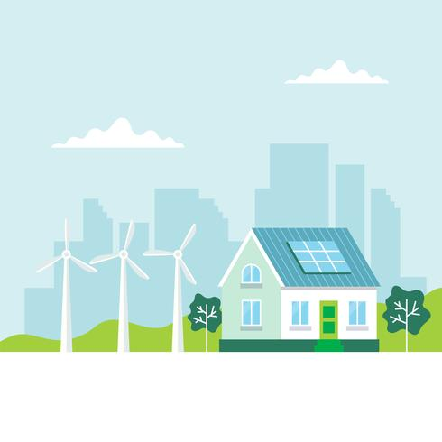 Green energy illustration with a house, solar panels, wind turbines, city background, copy space. Concept illustration for ecology, green power, wind energy, sustainability vector