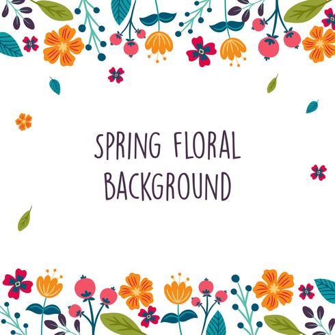 Flor de primavera / Frontera floral / Fondo de corona impresa - Ilustración vectorial vector