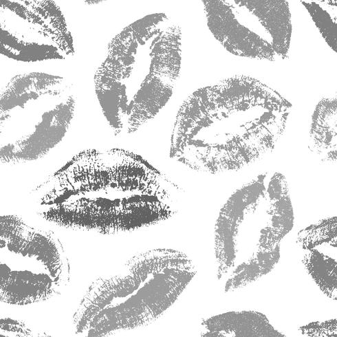 Küsse nahtlose Vektormuster. Lippen drucken Muster
