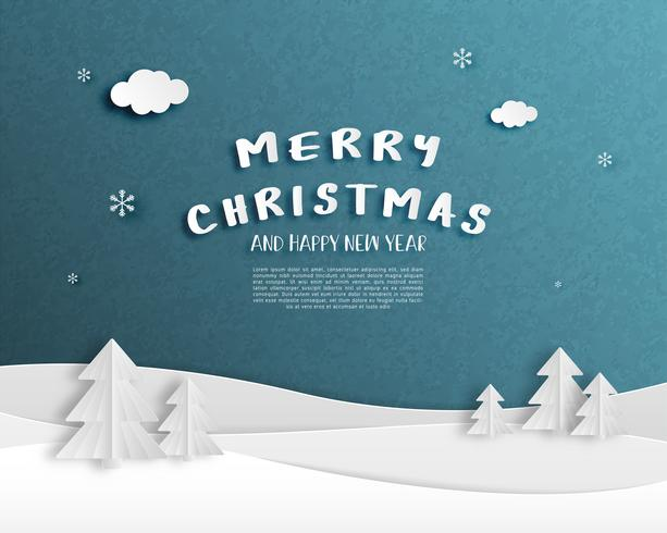 Tarjeta de felicitación feliz Navidad y feliz año nuevo en el estilo de corte de papel. vector