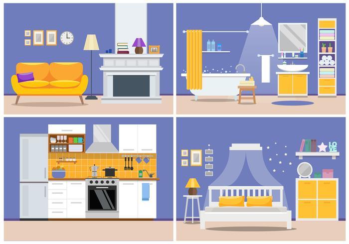 Leuk modern flatbinnenland - woonkamer, keuken, badkamers, slaapkamer, huisontwerp. Vectorillustratie in vlakke stijl in paars in geel.