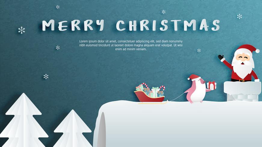 Buon Natale e felice anno nuovo biglietto di auguri in carta tagliata stile.