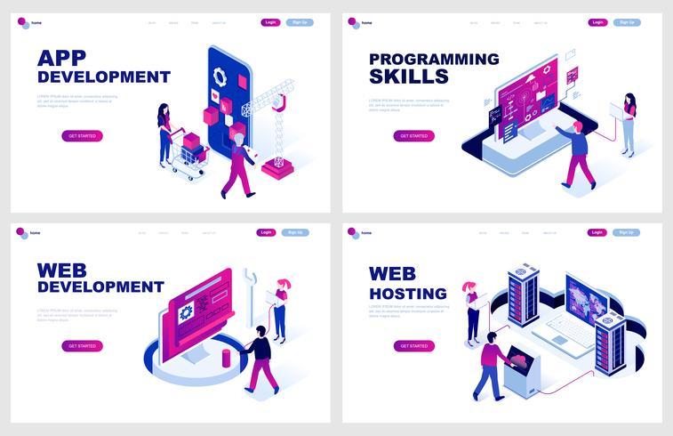 Satz der isometrischen Zielseitenvorlage für App- und Webentwicklung, Programmierung, Hosting. Isometrische Konzepte der modernen Vektorillustration verzierten Leutecharakter für Websiteentwicklung.