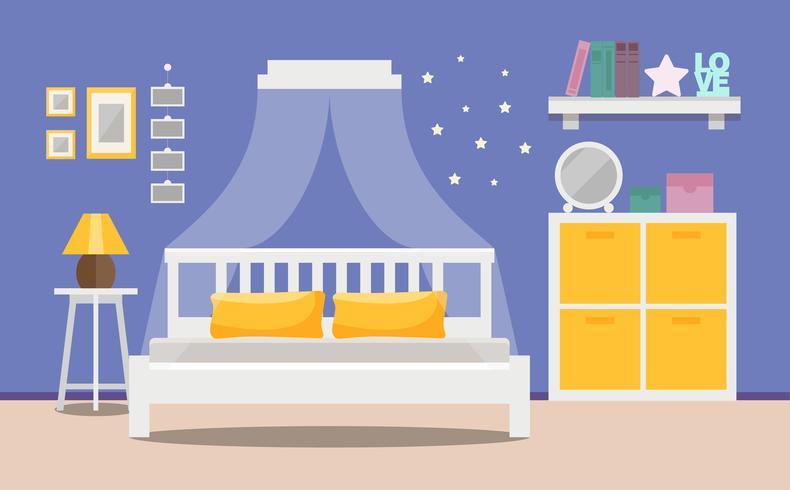 Dormitorio moderno interior - una cama con un armario, diseño de apartamento. Ilustración del vector en estilo plano.