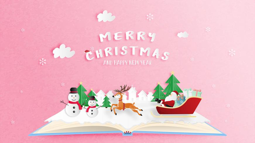 Merry Christmas and Happy new year greeting card in paper cut style.