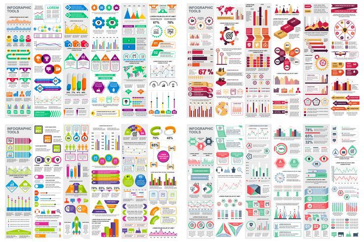 Insieme del modello di progettazione di vettore di visualizzazione di dati di elementi infographic. Può essere utilizzato per passaggi, opzioni, processi aziendali, flusso di lavoro, diagramma, concetto di diagramma di flusso, cronologia, icone di marketi