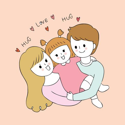 Cartoon cute parents and baby vector.
