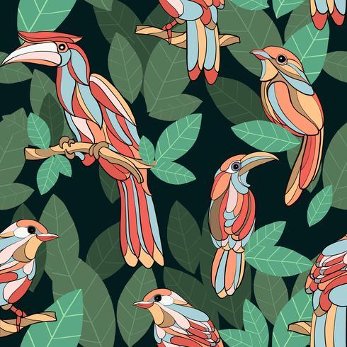 Dibujado a mano aves de hoja verde tropical de patrones sin fisuras