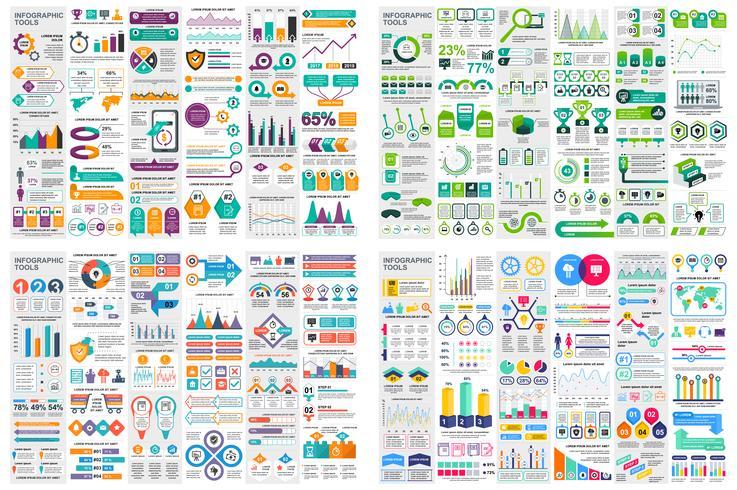 Ensemble de modèle de conception infographie éléments données visualisation de vecteur. Peut être utilisé pour les étapes, les options, les processus métier, les flux de travail, les diagrammes, le concept d'organigramme, la chronologie, les icônes ma